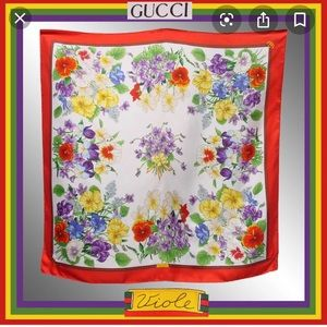 Vintage 80's Gucci Silk Scarf - Votives Print